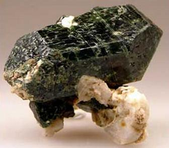 "Diopside on albite from ""Green Diopside"" site on location map"