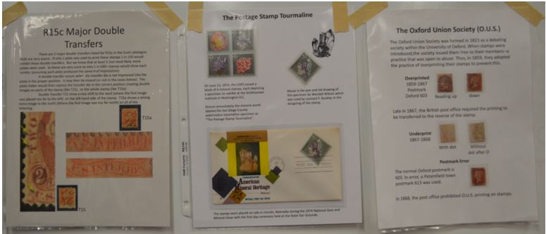 "From left to right above, they were Scott Martz's ""R15a Major Double Transfer"". Fred Haynes' The Postage Stamp Tourmaline"", and Larry Rausch's ""The Oxford Union Society (O.U.S.)""."
