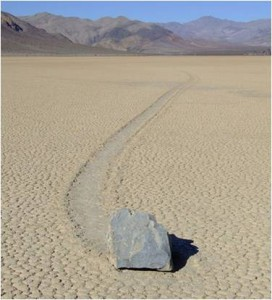 "A solitary ""sailing stone"" on the Raceway Playa in  Death Valley.                        (from Google Wikipedia)"