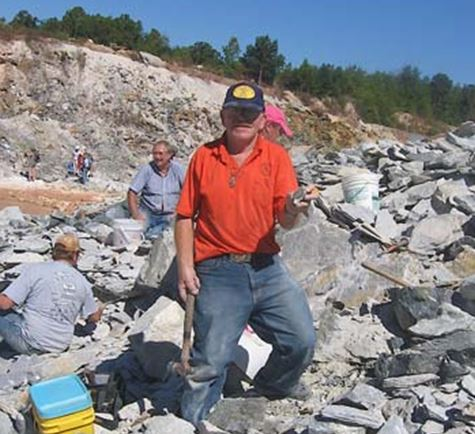 Look who is collecting pyrite in Glendon, NC in Oct.,2010.  Bill Chapman shows off his find.  Photo from M.A.G.M.A. website