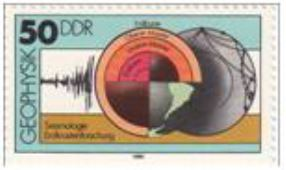 The German Democratic Republic commemorated geophysical research with a postage stamp depicting the earth's interior in 1980.