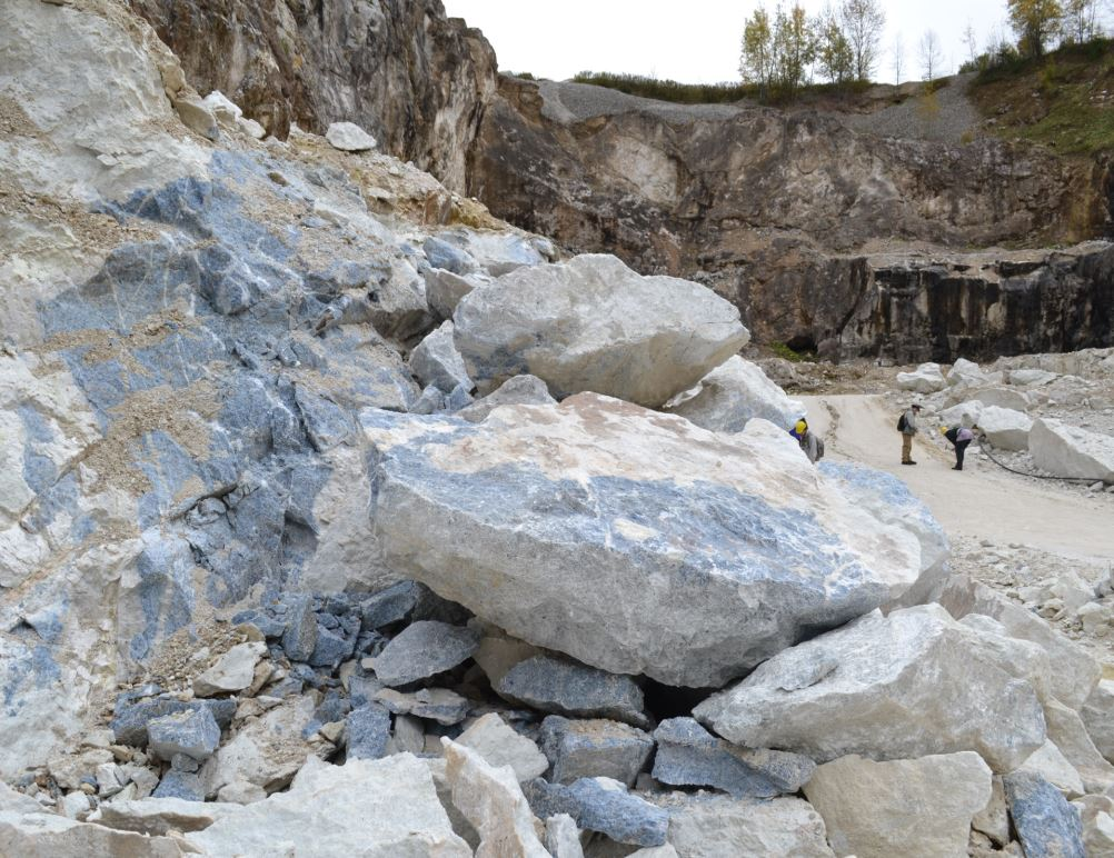 The large boulder in this foreground is the size of large office desks.  The blue is calcite.