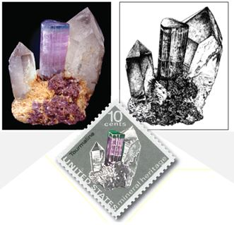 The Postage Stamp Tourmaline (upper left) and the stamp  depicting the famous specimen.  The designer benefitted from a pen and ink drawing (upper right) by Wendell Wilson  (editor the Mineralogical Record).