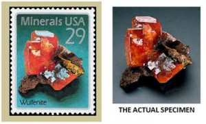 The Red Cloud wulfenite stamp of Sept., 17, 1992 was  designed by Leonard Buckley from the specimen that  remains on display at the Baird Auditorium of the Smithsonian.
