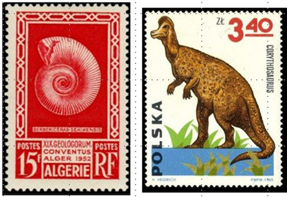 The first fossil stamp from Algeria and a Corythosaurus from an early set of dinosaur stamps issued by Poland.