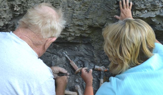 Bill and Donna have each found a pyrite nodule.
