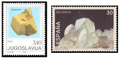 Apparently Yugoslavia and Spain thought highly enough of dolomite to feature a specimen on a postage stamp.