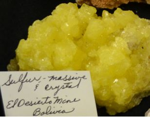 Linda Schmidtgall's sulfur was the largest and brightest of several that were brought to the event.