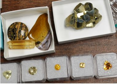 Ed Smith had a nice pyrite specimen, but he also brought a number of faceted citrine crystals.
