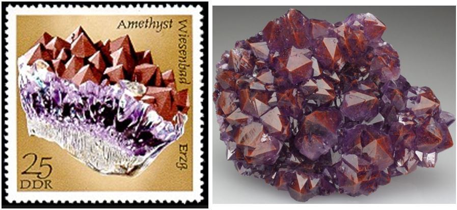 Combinations of red colored quartz with amethyst can be particularly appealing as shown by the piece on the 1982 Germany stamp.  The internal hematite in  the Thunder Bay, Ontario amethyst piece on the right imparts a reddish color to the otherwise purple mineral.
