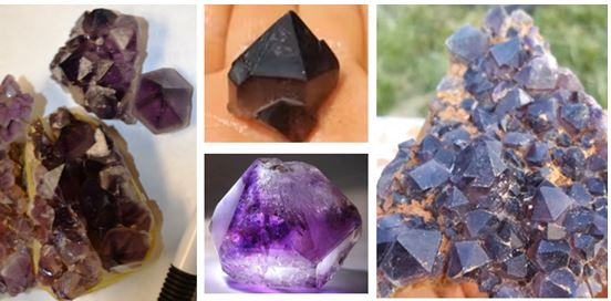 Virginia amethyst: Linda Schmidtgall dug the pieces in the left picture on a March 2014 WCGMC trip.  Those depicted in the center and the right are from Mindat and Youtube videos on the location, respectively.