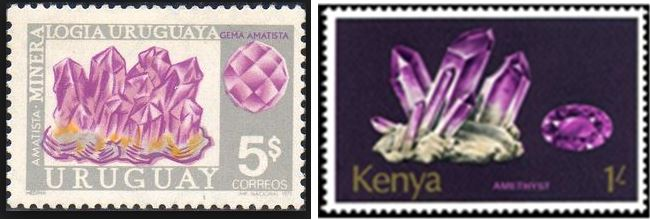Amethyst has been a favorite for countries issuing mineral stamps.  Uruguay and Kenya issued amethyst stamps in 1971 and 1974 respectively.