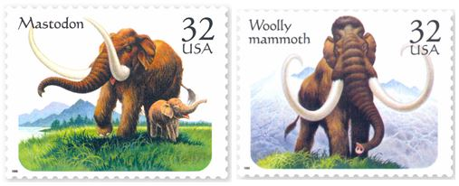 In 1996, the United States featured the two extinct Proboscidea mammals in a set of four stamps.
