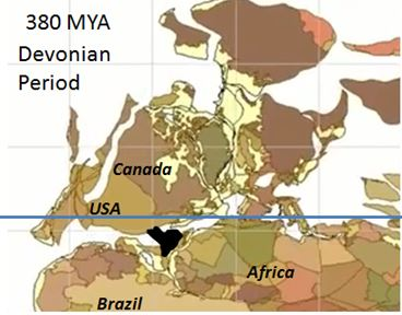 A reconstruction of continents at two different times during the Paleozoic Era of earth's history reveals that New York State resided near the equator when the bedrock of much of present-day Livingston County was deposited (above) before drifting north as the continents of North America, South America and Africa collided into the supercontinent of Pangea  around 280 MYA (below) (modified from Scienze della Terra Educational Science website, 2003).