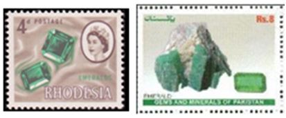 Rhodesia and Pakistan are two more countries that have honored the emerald on a postage stamp.