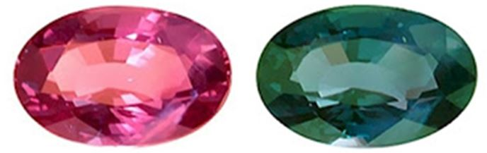 Very fine alexandrite gemstone under different light conditions, on the left the stone is exposed to incandescent light, on the right the same stone is shown under daylight conditions.