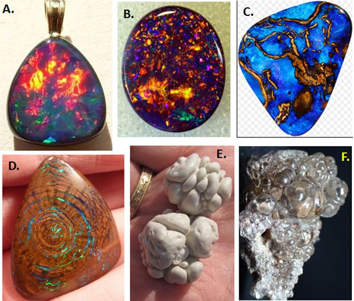 There are not as many varities of opal as there are agate, but the nature of the occurrence and the color produced have led to several widely accepted types.  A. Fire opal from Ethiopia displaying a lot of orange and red.  B. Black opal cabachon from Australia where the host opal is quite opaque.  C. Boulder opal, often blue and where the matrix material remains.  D. Wood opal, the texture of the petfried wood is readily apparent.  E. Geyserite, from Upper Geyser Basin in Yellowstone National Park owes its name to its origin.  F. Hyalite, a glassy form of opal with low water content (3-6%).