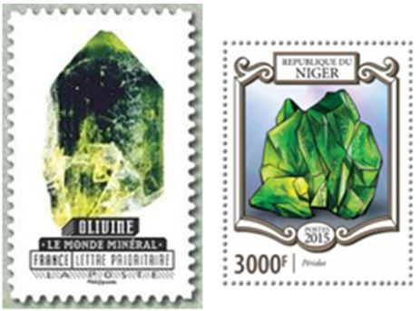 France and Niger have featured olivine and peridot on recent stamps.  The French issue is part of a ten stamp mineral set issued earlier in 2016.