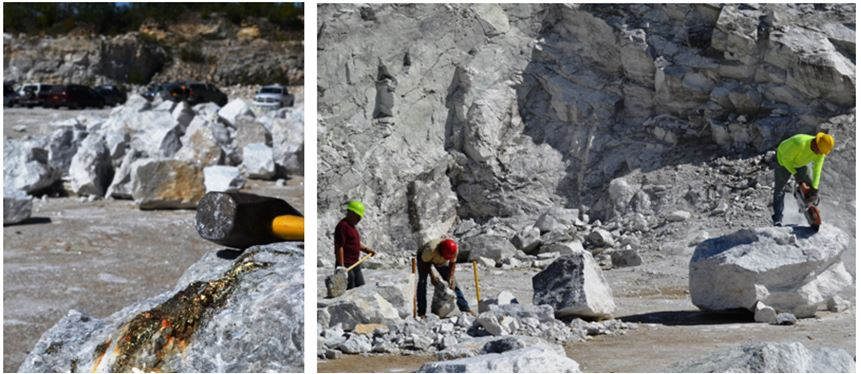 A boulder with a large streak of pyrite was spotted on the quarry floor.  Naturally Ken St. John (in yellow with the saw) was not about to leave that behind.  Bill Chapman and Craig Stephens are busy with their big hammers at a safe distance from Ken.