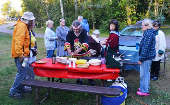 We had a camp cook!  John Anderson, here displaying his loyalty for the Ottawa Senators, cooks breakfast at Rossport Provincial Park campsite.  For the five nights we camped in two Ontario parks John cooked breakfast and dinner for all 15 of us while his wife Patti went rockhounding.  He even found time to make us sandwiches for lunch.  John claims he awoke at 4:30 to make sandwiches and prep for breakfast, but none of us actually know if this is true!  BUT, coffee was always ready at 6:30 and eggs or pancakes soon followed.