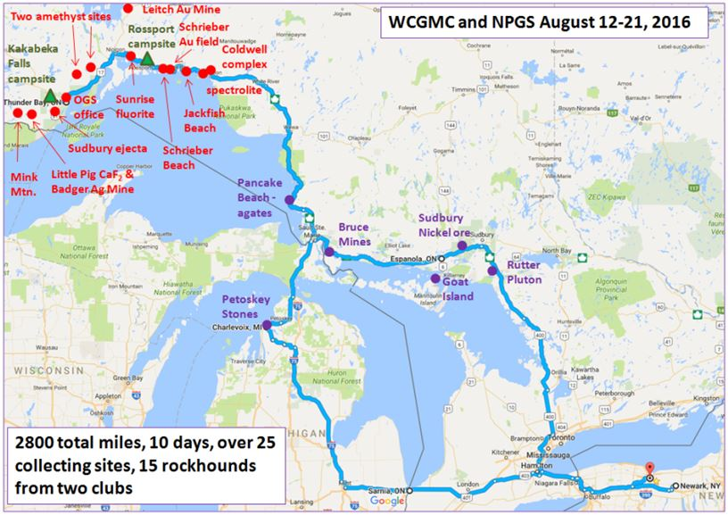 What a trip: 2800 miles (or is it 4600 kilometers!).  Red stops were planned by Niagara Peninsular Geol. Soc. WCGMC made stops in blue on Ontario route to Sault Ste. Marie where we met the NPGS and on the Michigan route on the way home.