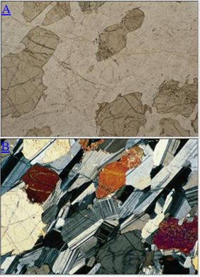 Birefringence and twinning: At the top plane polarized light passes through a thin section of a gabbro.  The darker minerals are pyroxene, the lighter minerals are plagioclase.  When a second polarizer is inserted above the thin section (lower photo),  lamellar albite twinning is observed in the plagioclase and the birefringence of the pyroxene is also evident.