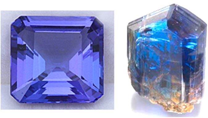 Tanzanite:  On the left, a 4.03 ct Asschur cut gemstone.  On the right, a natural raw terminated tanzanite   crystal.  Which would you prefer?