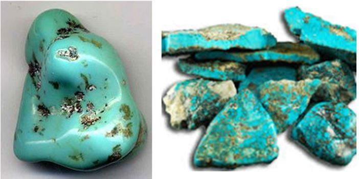 Turquoise:  With a hardness of 5-6, turquoise is somewhat durable, but soft enough to polish easily.  The raw vein style turquoise on the right is from Morenci, Arizona.