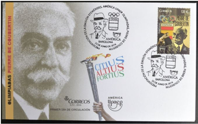 Pierre de Coubertin:   One of several First Day covers Carl acquired for the June 2016 Spain issue.