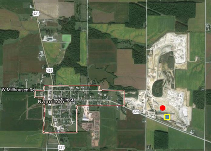 An aerial view of the Napoleon Quarry just ½ mile east of the town center.  The cover photo above was taken from the red circle towards the south.