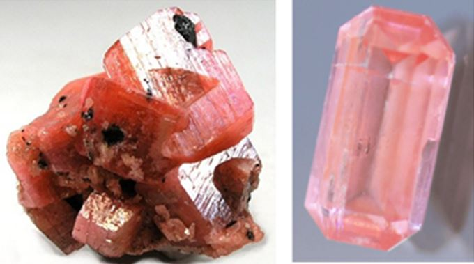 Both the miniature serandite specimen on the left (4 cm across) and the 6.6 mm (0.45 ct) rectangular step cut gem on the right are from the famous mining and mineral collecting Mont Saint Hilaire District in Quebec.
