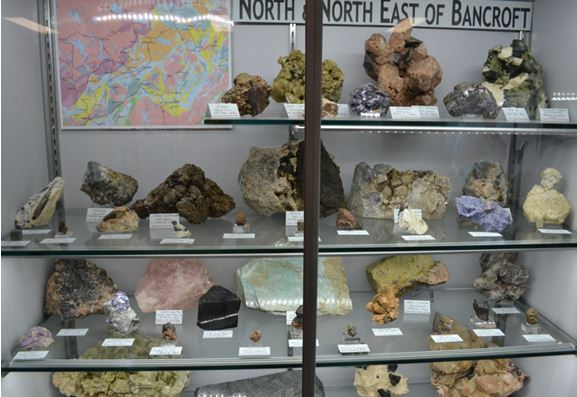 One of the regional exhibits in the Bancroft Mineral Museum.