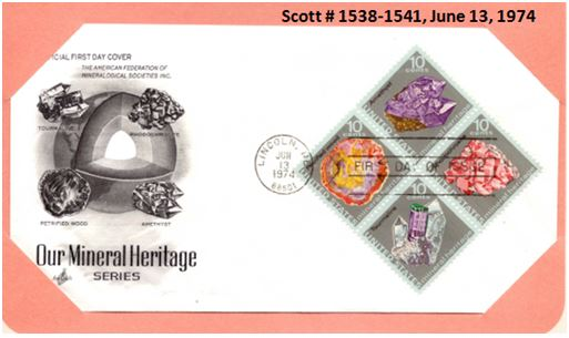 First Day cover from the 1974 Mineral Heritage Set.  The first day ceremony was held at the 1974 National Gem and Mineral Show in Lincoln, Nebraska.