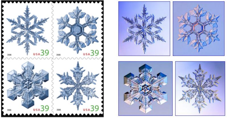 The original photographs by Libbrecht are on the right.  The design for the 39 cent stamps issued in October of 2006 were created by Richard Sheath, who digitally cut the snowflakes out from the photo and set them onto a white background.