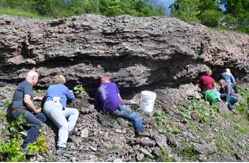 My six colleagues on the dig, from left to right Ivan, Karen, Bill, Linda, Ken, and Debbie dig in the seam.