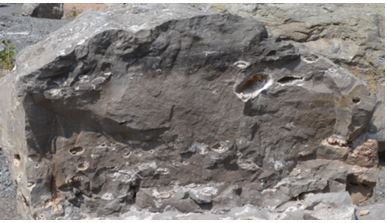 This vuggy boulder at Lockport is about 2 meters across.  The large vug and all the smaller ones seemed to contain only dolomite and a small amount of selenite.
