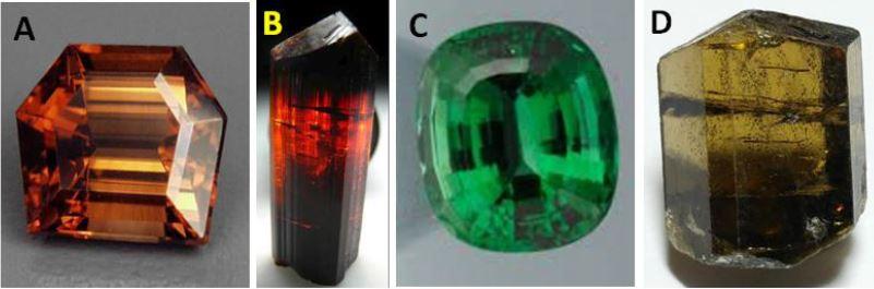 Dravite gems: A. 4.14 carat, fancy cut, Tanzania B. uncut 15mm tall, Tanzania C. 11.47 carat chrome dravite, Landanai, Tanzania D. 12m tall, 1.4 gram uncut crystal from Jajarkot District, Nepal.