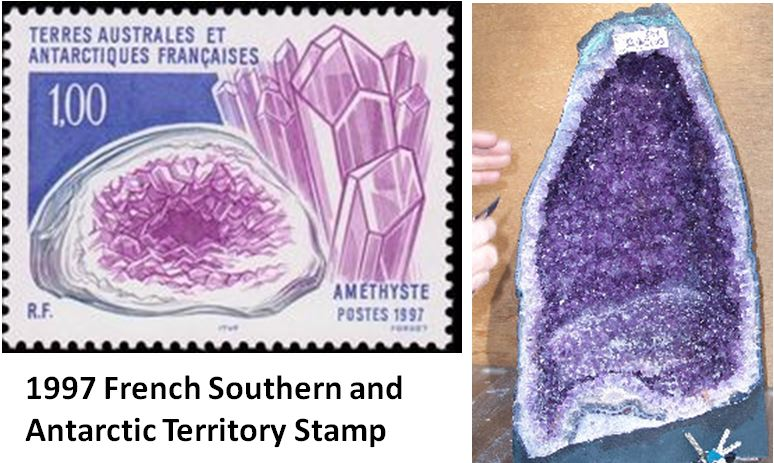 Brazilian amethyst cathedrals, like that on the right, are highly prized pieces and are often used as raffle prizes at mineral events.  The cathedral pictured here was the grand raffle prize for the 2010 St. Lawrence County Club show in upstate New York.