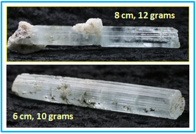 These two aquamarines are from Stak Nala, Gilgit, Pakistan and are currently for sale by WCGMC member Eric Elias on his SonicEvolution website. Note the characteristic lengthwise striations on the lower photo.
