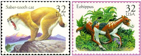 The other two stamps featured a Smilodon (saber-tooth cat) and an Eohippus (a small early Equid or horse).