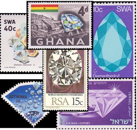 Many countries have featured diamonds on their postage stamps.  The American Topical Association thematic diamond list has 116 stamps from 46 different countries.