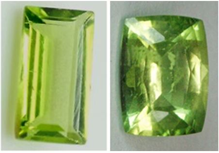 Peridot gem cuts:  The baguette cut stone on the left is from Burma. The cushion cut stone (right) is from Pakistan.