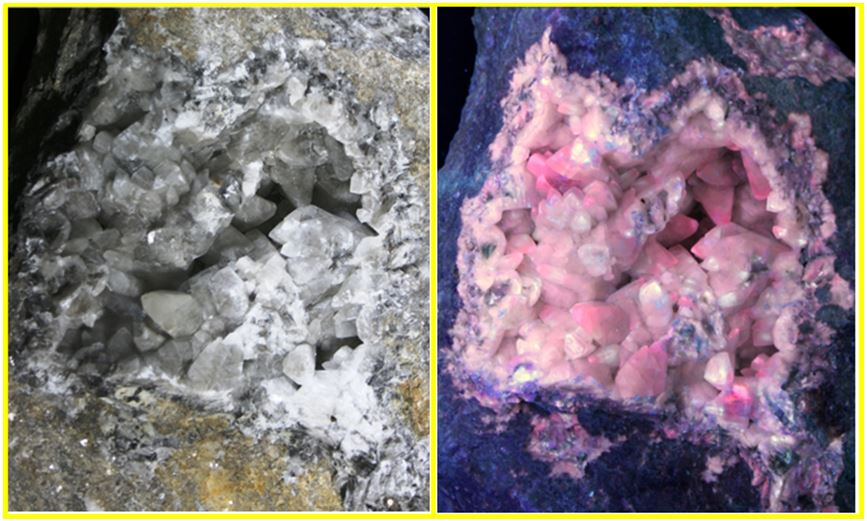 Fluorescent calcite:  Although fluorescent norbergite was hard to find, we learned that the calcite fluoresces pink in short wave adding to its appeal.  This is a picture in both daylight and under strong short wave UV.           Specimen and photo by Ken St. John