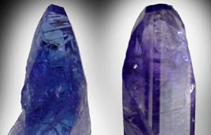 Tanzanite has its own unique property.  It is very strongly pleochroic, that is it will display different colors when light passes through different crystal directons.  This is the front and side (90 degrees) of the same tanzanite crystal viewed with the same light source.  Now imagine a gemstone cut from this stone!
