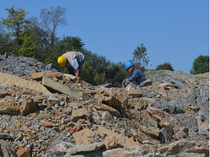 Bill Lesniak (left) and Jerry Bastedo search in the Ordovician spoil piles.