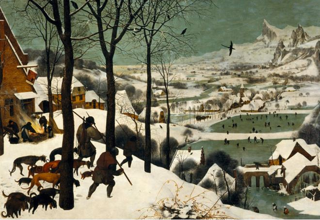 """Early evidence of """"curling"""" appears in this painting by Peter Bruegel. The 1565 painting is entitled """" """"Hunters in the Snow"""", but the activity on the ice includes curling or some form of rock sliding."""