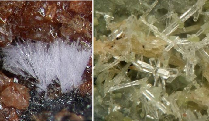 Fleischerite (left) from Tsumeb, Namibia and Mallestigite (right) from Austria.  Field of view in both photos is less than 0.3 mm, true micromounts.